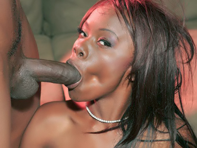 Black girl Ashley Brooks shows up in her sexy fishnets and gives a monster cock a nasty blowjob